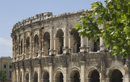 The arena in Nimes in France. The antique roman arena in Nimes in South France Royalty Free Stock Photography
