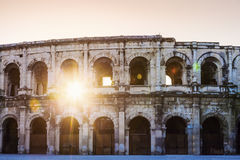 Arena of Nimes at sunrise Stock Images