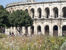 Arena of Nîmes architecture detail, France Royalty Free Stock Photography