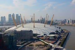 Arena O2 på Greenwich, London, England flyg- sikt Royaltyfria Bilder
