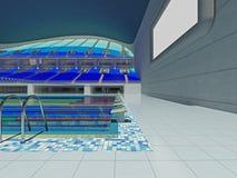 Arena olímpica interior de la piscina con los asientos azules Fotos de archivo libres de regalías