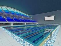 Arena olímpica interior de la piscina con los asientos azules Fotos de archivo