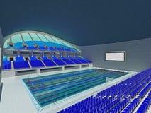 Arena olímpica interior de la piscina con los asientos azules Imagen de archivo libre de regalías