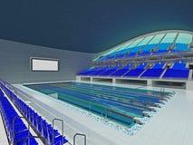 Arena olímpica interior de la piscina con los asientos azules Imagen de archivo