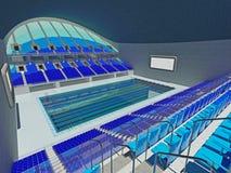 Arena olímpica interior de la piscina con los asientos azules Fotografía de archivo