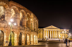 The Arena and Palazzo Barbieri in Verona Stock Photos