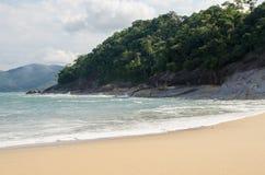 Arena, playa y árboles Fotos de archivo libres de regalías