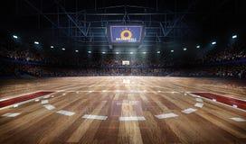 Arena profesional de la cancha de básquet en luces con la representación de las fans 3d
