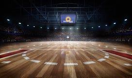Arena profesional de la cancha de básquet en luces con la representación de las fans 3d stock de ilustración