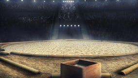 Arena profesional del sumo en la representación de las luces 3d Fotos de archivo