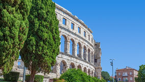 Arena Pula. Roman time arena in Pula, detail, Croatia. UNESCO world heritage site Royalty Free Stock Photography