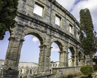 The Arena in Pula. Right side of the Arena Royalty Free Stock Photo