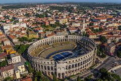 Arena Pula. Roman time arena in Pula, detail, Croatia. UNESCO world heritage site Royalty Free Stock Photo