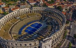Arena Pula. Roman time arena in Pula, detail, Croatia. UNESCO world heritage site Stock Photo