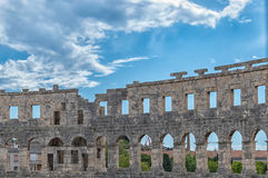 Arena Pula. View of the old roman amphitheater in croatian town Pula in Istria. It is built in 1st century A.D Royalty Free Stock Photography
