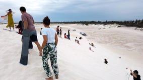 Arena que practica surf en Lancelin, Australia occidental almacen de video