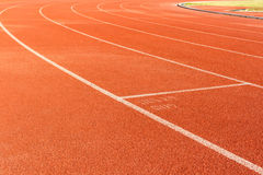 Arena sport lanes of running track. Arena sport lanes of running track with a curve stock image