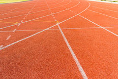 Arena sport lanes of running track. Arena sport lanes of running track with a curve stock images