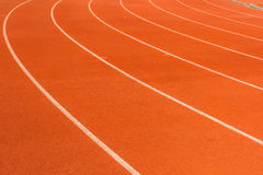 Arena sport lanes of running track. With a curve stock photo