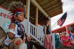 Arena of 49th annual United Tribes Pow Wow. BISMARK, NORTH DAKOTA, September 8, 2018 : Sioux children at the 49th annual United Tribes Pow Wow, one large outdoor royalty free stock images