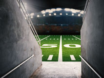Arena tunnel. 3d rendering arena tunnel with american football field Stock Images