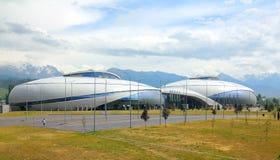 Arena van ijs de complexe halyk in Alma Ata stock afbeeldingen
