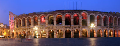 The arena in verona. Arena di Verona - Italy. Wide angle view - night scene Royalty Free Stock Photos