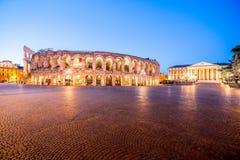 Arena in Verona city. Night view on illuminated Arena on Bra square in Verona city Stock Image