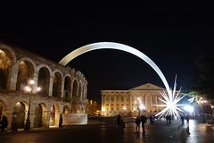 Arena of Verona with comet Stock Photo