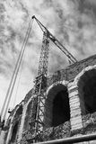 Arena Verona con la gru Fotografie Stock