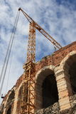 Arena verona with crane. Arena in verona with a crane for theater Stock Image