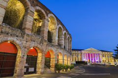Arena of Verona with illuminated City Stock Photo
