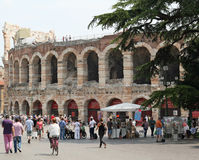 Arena Verona. The outer wall of the Arena in Verona. The site of ancient gladiator fights and blood thirsty games within the Roman Empire Royalty Free Stock Images
