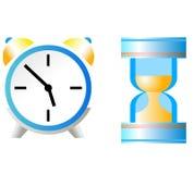 Arena-vidrio y reloj Fotos de archivo libres de regalías