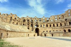 Arena and Wall of  the Amphitheater  in El Djem, Tunisia stock photography