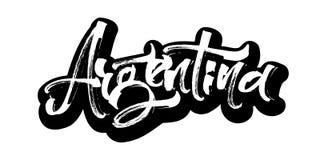 arenaceous etikett Modern kalligrafihandbokstäver för serigrafitryck Royaltyfria Foton