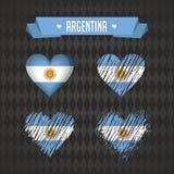 arenaceous Samling av fyra vektorhjärtor med flaggan Hjärtakontur vektor illustrationer