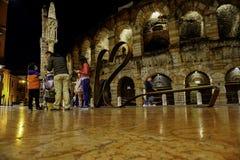 Arenadi verona vid natt med ligh Royaltyfri Foto