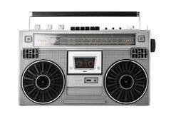 Arenador o boombox de plata del ghetto de la viejo-escuela con la trayectoria de recortes Fotos de archivo