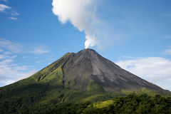 Arenal volcano in Costa Rica. With a plume of smoke Royalty Free Stock Photography