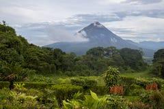 Arenal Volcano Rises in Afstand met Wildernisvoorgrond Stock Fotografie