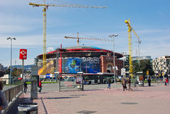 ARENAS DE BARCELONA. Photo of Arenas de Barcelona in Spain, showing the process of renovation Stock Images