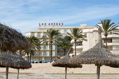 Arenas de Las do hotel e praia do inverno Fotografia de Stock Royalty Free