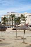 Arenas de Las do hotel e praia do inverno Foto de Stock Royalty Free