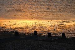 Arenas de oro en la marea baja whitstable Foto de archivo