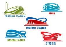 Arenas y estadios de deporte que construyen iconos ilustración del vector