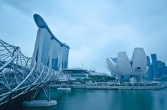 Arenas y línea de costa, Singapur de la bahía del puerto deportivo foto de archivo