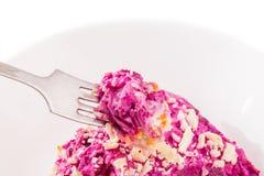 Arenques apetitosos da salada sob um casaco de pele em uma forquilha e em uma placa Imagem de Stock
