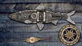 Arenques de los pescados del estilo de Steampunk Foto de archivo