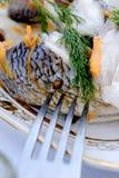 Arenques sabrosos de los pescados en la bifurcación Fotografía de archivo libre de regalías